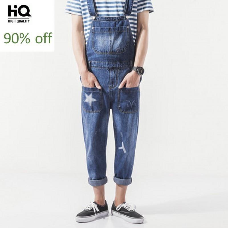 Overalls Mens 2020 Hot Fashion Menswear Streetwear Casual Full Length Denim Rompers Pocket Mid Waist Regular Jeans Suspender Man