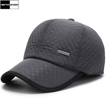 [NORTHWOOD]  New Warm Mens Winter Baseball Cap Ear Flaps Brand Snapback Hats Thicken Cotton Fitted Gorra Hombre Trucker - discount item  40% OFF Hats & Caps