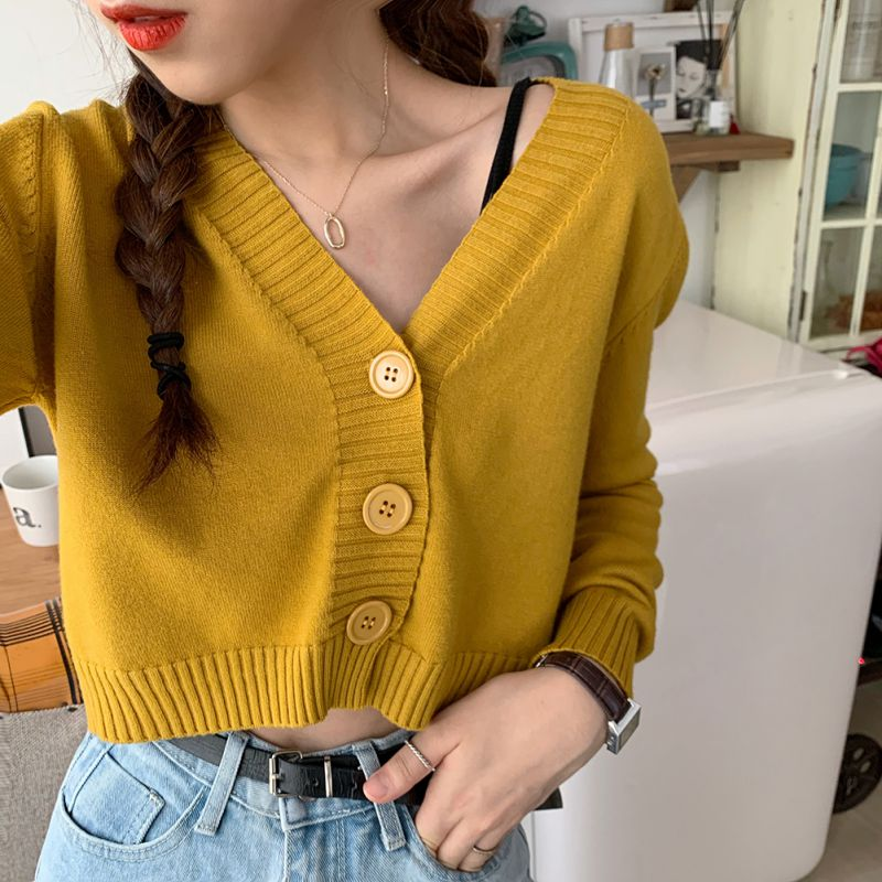 Women's Cropped Sweater Coat Sexy Female V-neck Long-sleeved Knit Cardigan Candy Color