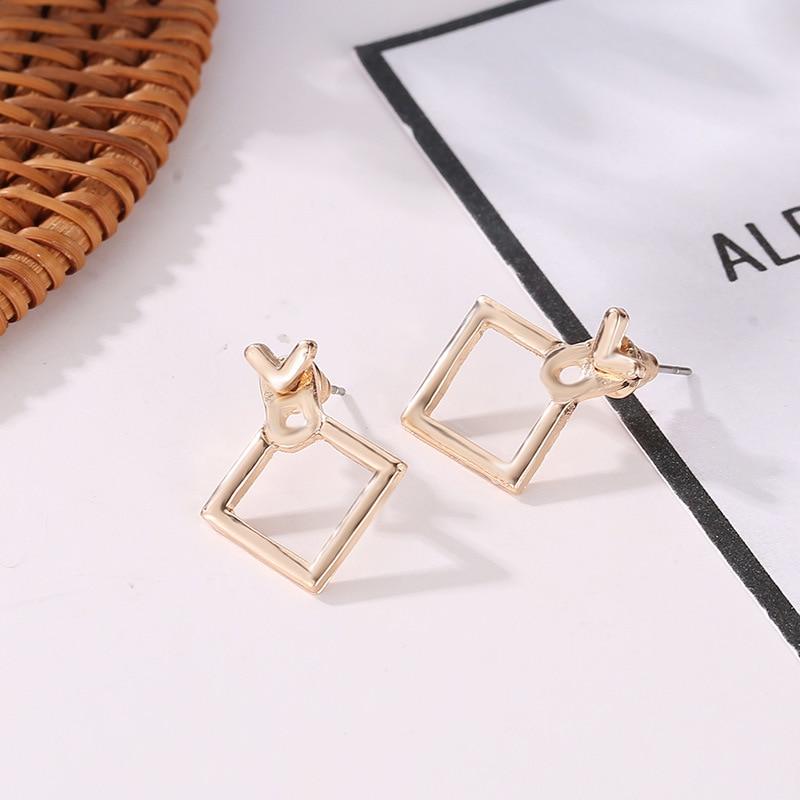 Woozu 2019 Fashion Cute Square Earrings Female Triangle Unique Design Small Geometric Earrings For Women Gift