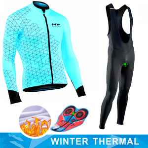 Northwave Blue and Black Long Sleeve Bike Clothes Thermal Fleece Ropa Roupa Invierno MTB Bicycle Clothing Winter Cycling Jersey(China)