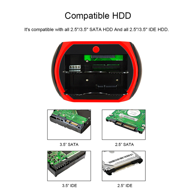 "CHIPAL All In 1 HDD 도킹 스테이션 USB 2.0 Dock 2.5 ""3.5"" IDE SATA 외장형 HDD 박스 HD 하드 디스크 하드 디스크 드라이브 인클로저"