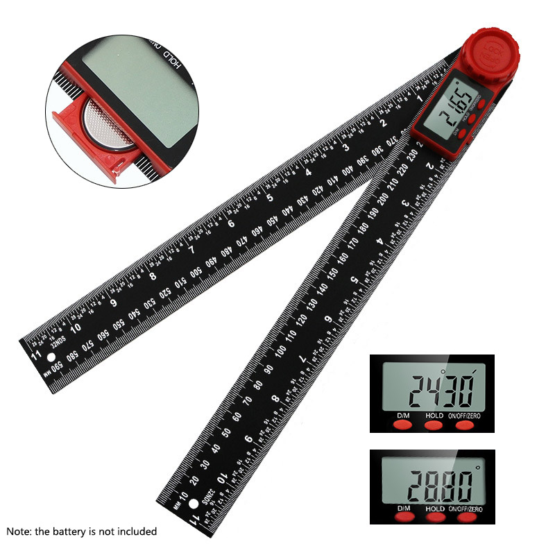 360° 200mm/300mm Digital Angle Ruler Electronic Digital Protractor Inclinometer Goniometer Level Measuring Tool Angle Gauge Red