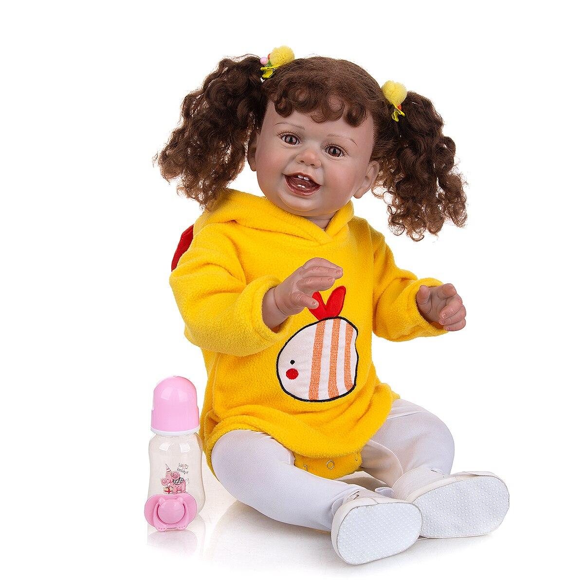 Neue Wiedergeburt Puppe 68cm Lockiges Haar Verwurzelt Faser Baumwolle Körper Mit Magnetische Schnuller