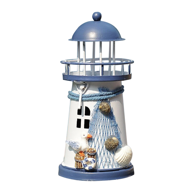 1 Piece Wrought Iron Nautical Lighthouse Lantern Candle Holders Sea Theme Home Cafe Tabletop Centerpieces 6