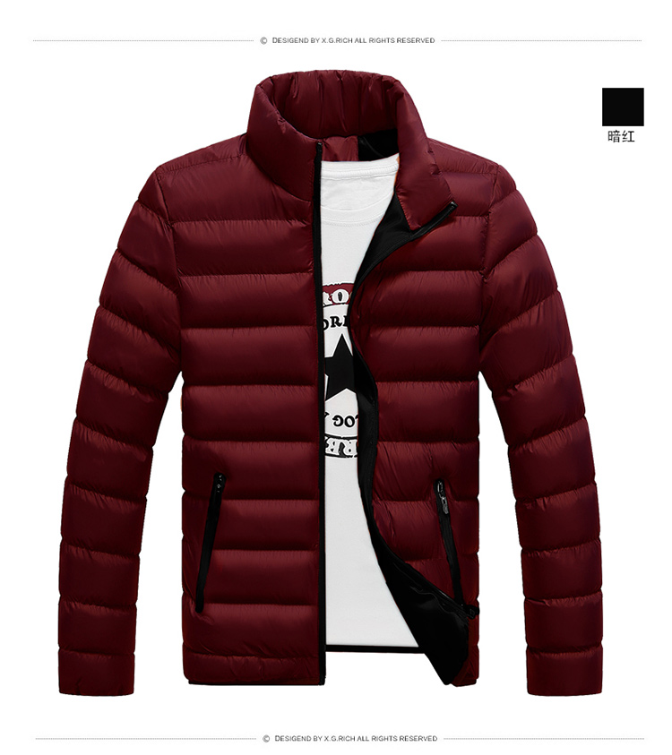 Winter Warm Jacket Men Wave Cut Casual Casaco Masculino Slim Stand Collar Parka Hombre Zipper Abrigo Hombre Coat Men Clothes