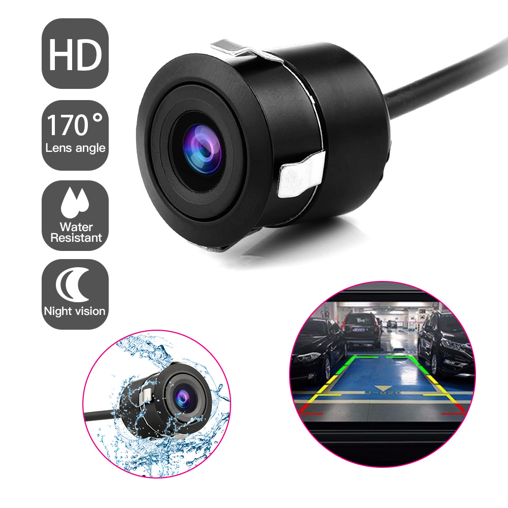 Mini Car Rear View Camera Flush Mount Reverse Backup Camera Waterproof Night Vision Wide Viewing 170 Degree Angle Car Camera
