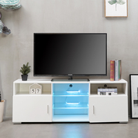 Portable Detachable TV Stand Cabinet Console with LED Light Shelves 1 Drawers for Living Room White Wood Table Black US Shipping