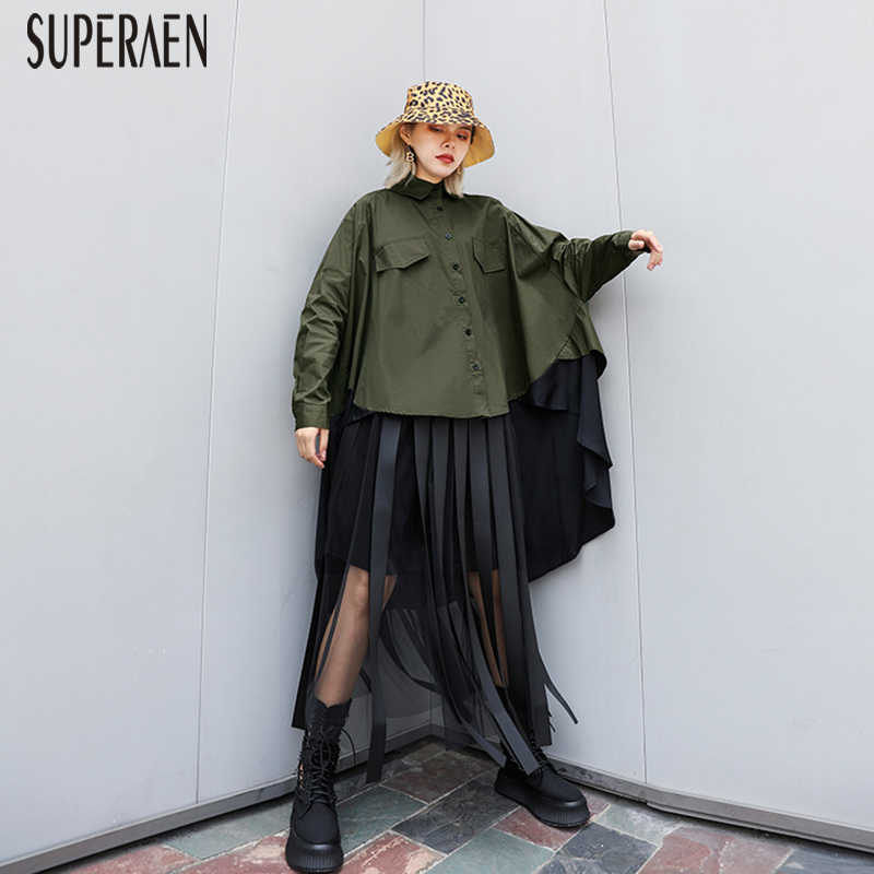 SuperAen Fashion Shirt Female Autumn 2019 New Long-sleeved Blouses and Tops Female Long Sleeve Wild Cotton Women Clothing