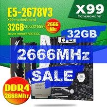 X99 TF carte mère ensemble DDR4 et DDR3 LGA2011 3 et LGA 2011 Intel Xeon E5 2678 V3 16GB X 2 pièces = 32GB 2666MHz mémoire NVME SATA3