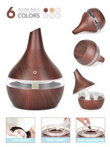 Usb-Humidifier Ultrasonic-Air-Diffuser Electric-Oil Wood-Grain 300ML Home Office