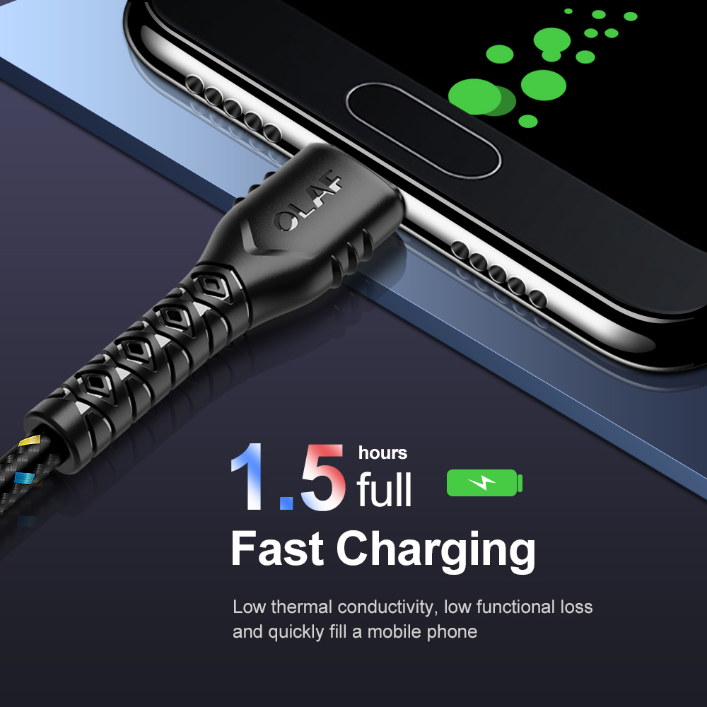 Image 2 - OLAF USB Type C Cable For Samsung S10 S9 A50 Xiaomi Redmi Note 7 USB C Charger 2.4A Fast Charging Mobile Phone USBC Type C Cable-in Mobile Phone Cables from Cellphones & Telecommunications