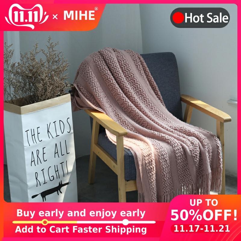 Malha reticulada tasseled ar condicionado sofá cobertor casa cobertores decorativos super macio quente multi cor