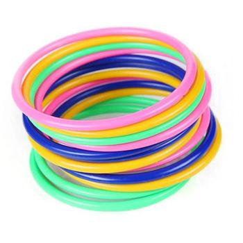 12Pcs/Set Kids Multicolor Toss Ring Throwing Circle Ferrule Carnival Garden Stall School Game Puzzle Toy Children Party Toys