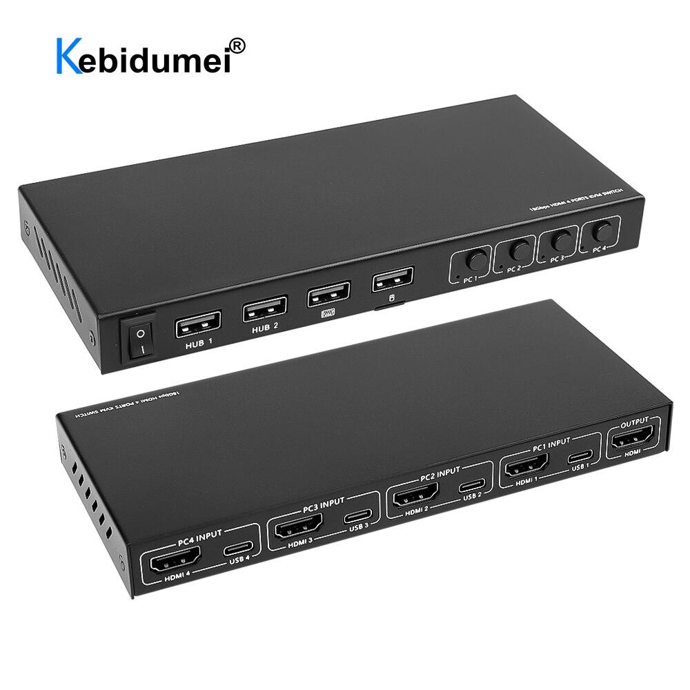 Переключатель KVM на 2/4 портов, совместимый с HDMI USB-переключатель, сплиттер для совместного использования монитора, клавиатуры, мыши, Адаптивн...