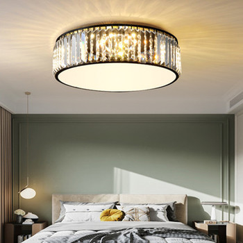Postmodern Minimalist Bedroom Lamp Warm And Romantic Room Study Led Ceiling Lamp Round Light Luxury Crystal Balcony Lamp