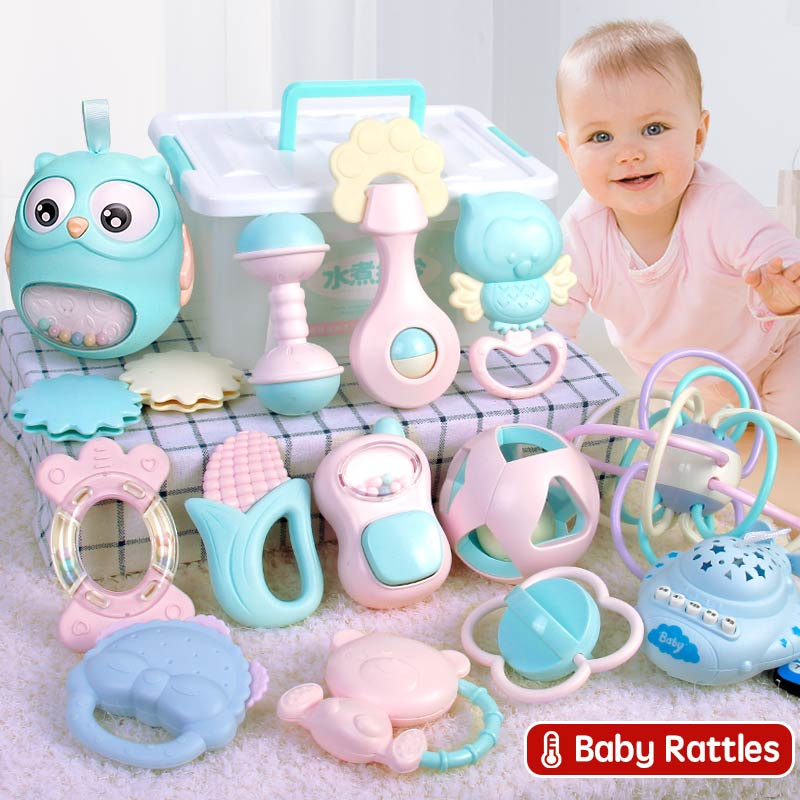 9-11Pcs Baby Rattle 0-12 Months Newborn Soft Bell Teethers Hand Shaking Crib Mobile Ring Educational Toy For Children Set Gifts