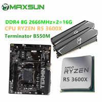 MAXSUN-placa base Combo Terminator B550M Ram DDR4 8GB 2666MHz CPU RYZEN R5 3500X 3600 3600X, sin enfriador