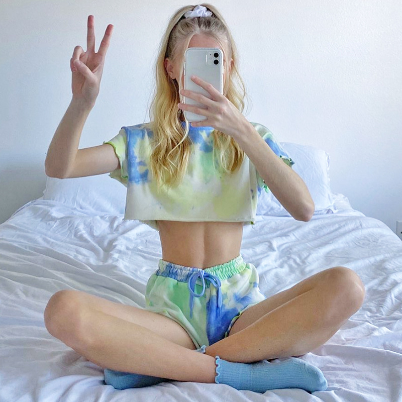 Women's Girls Crop Top T-shirt Shortie Pants Colorful Printing Short Sleeves Tee Shirts Shorts Suit for Summer 1