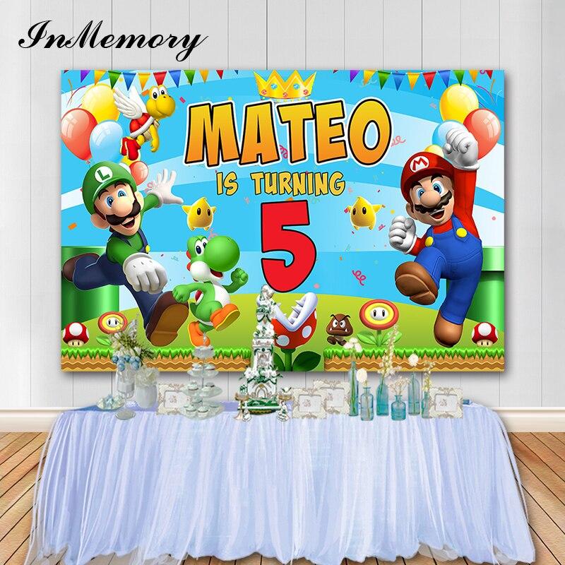 Inmemory Super-Mario-Backdrops Studio Background-Quality Vinyl Photo Customize Happy-Birthday
