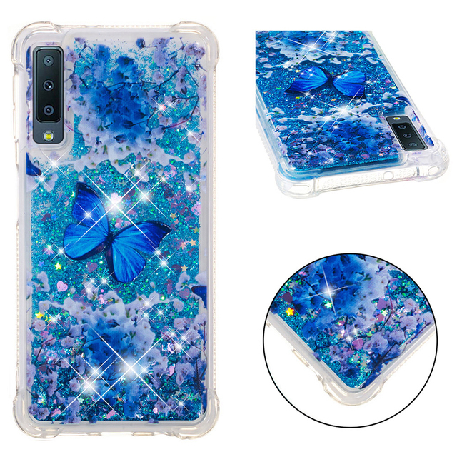 Paillettes Paillettes Liquide Quicksand étui pour samsung Galaxy A8 Plus A7 A6 2018 A310 A510 A320 A520 A720 M20 M30 A10 A20 A30 Couverture