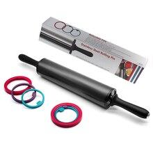 Rolling Pin Edelstahl Teig Roller mit 3 Abnehmbare Einstellbare Dicke Ringe für Backen Teig Pizza Pie Gebäck Pasta