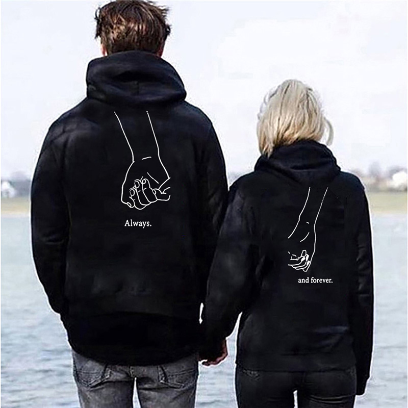 OMSJ Couple Letter Print Matching Autumn Winter Long Sleeve Always Forever Hoodies Fashion Lovers Sweatshirts Hooded Fall Gifts