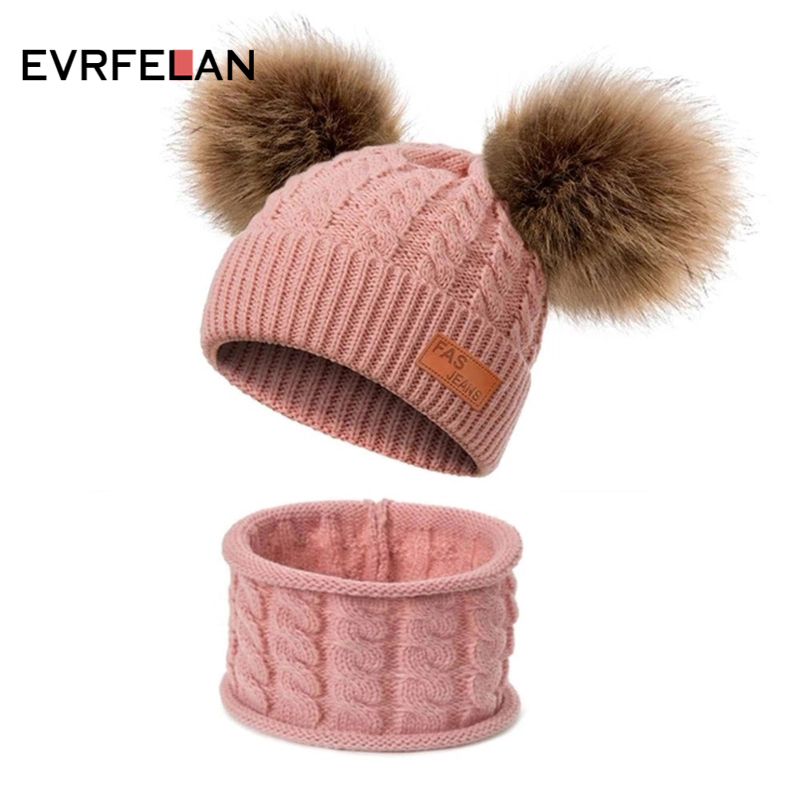 Evrfelan Knitted Hat Ring-Scarves-Set Scarf Beanies Pompom Fur Warm Girls Boys Kids Winter