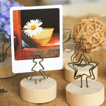 Round Original Wood Wrought Photo Clip Folder Business Card Holder Creative Photo Frame Wooden Note Picture Frame Clip image