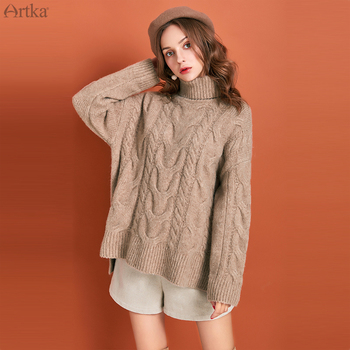ARTKA 2019 Winter New Women Sweater Elegant 4 Colors Turtleneck Sweaters Thicken Warm Loose Pullover Sweater For Women YB10893Q юбка artka qb17249d