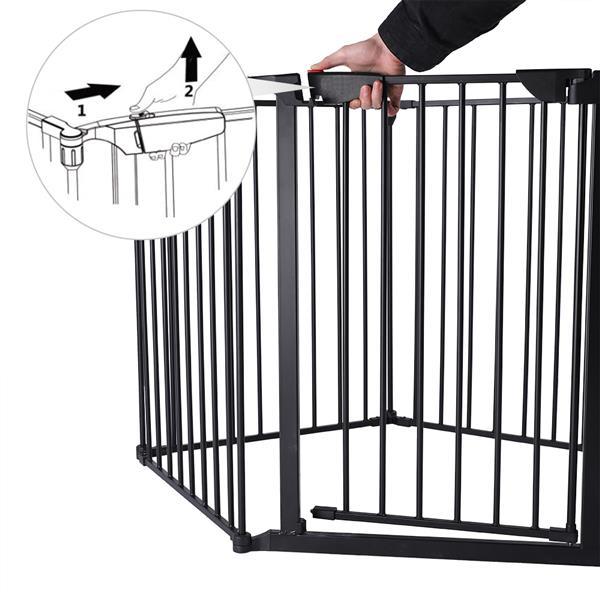 5 шт/6 шт стальные заборы Для каминной безопасности, забор для детей, забор для домашних животных, изоляционные ворота, барьер для детской лес... - 5