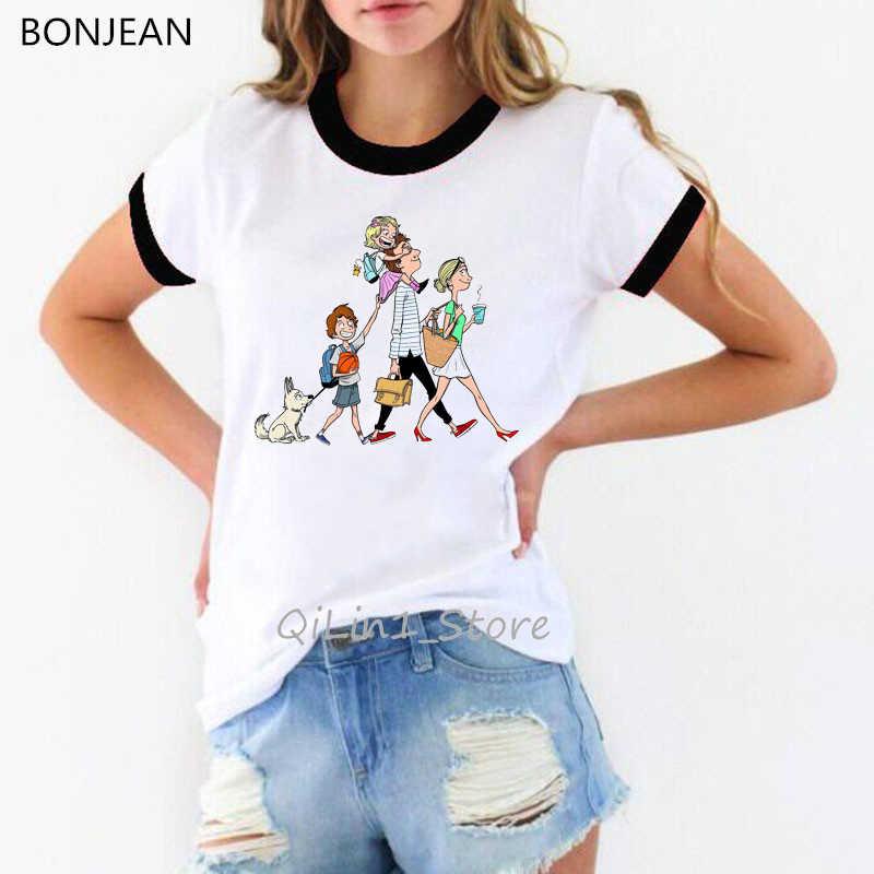 Super famiglia maglietta delle donne di harajuku kawaii t shirt vogue bianco t-shirt slim fit ringer tee parti superiori di estate streetwear donna vestiti