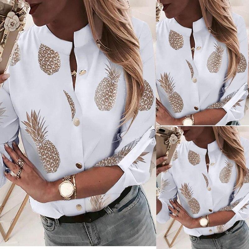 Ananasowa bluzka koszula damska Ananas białe bluzki z długim  YEjJH