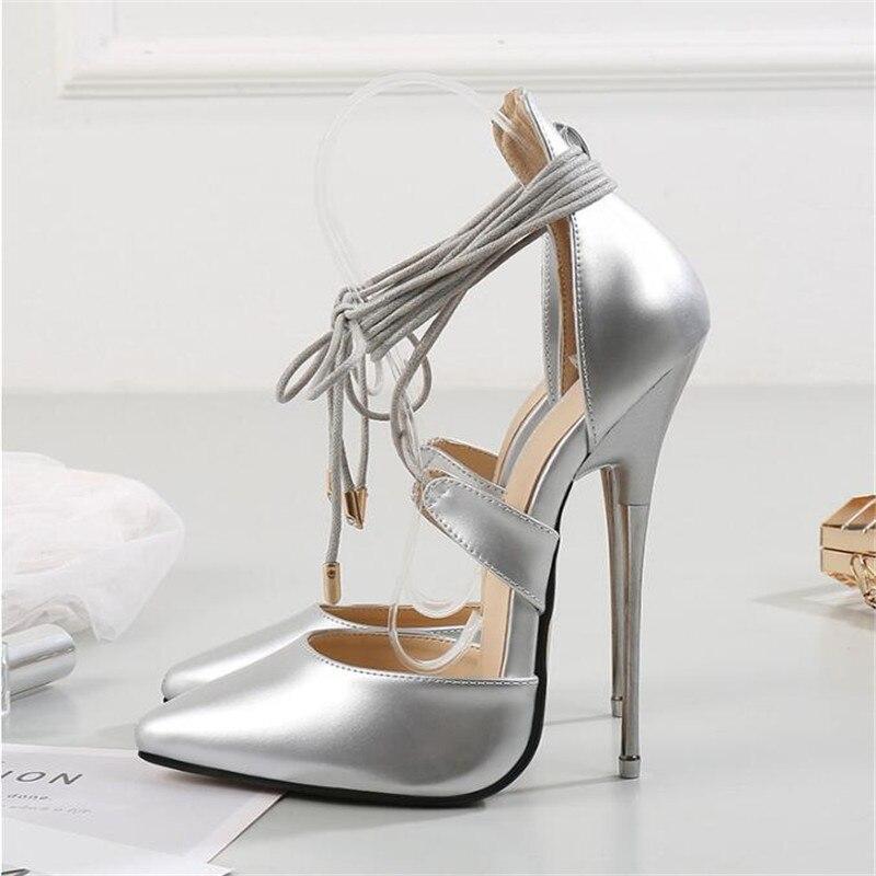 BBZAI marque bout pointu qualité supérieure chaussures femme 16cm métal mince talons hauts pompes Sexy noir rouge cheville sangle mariage stilett