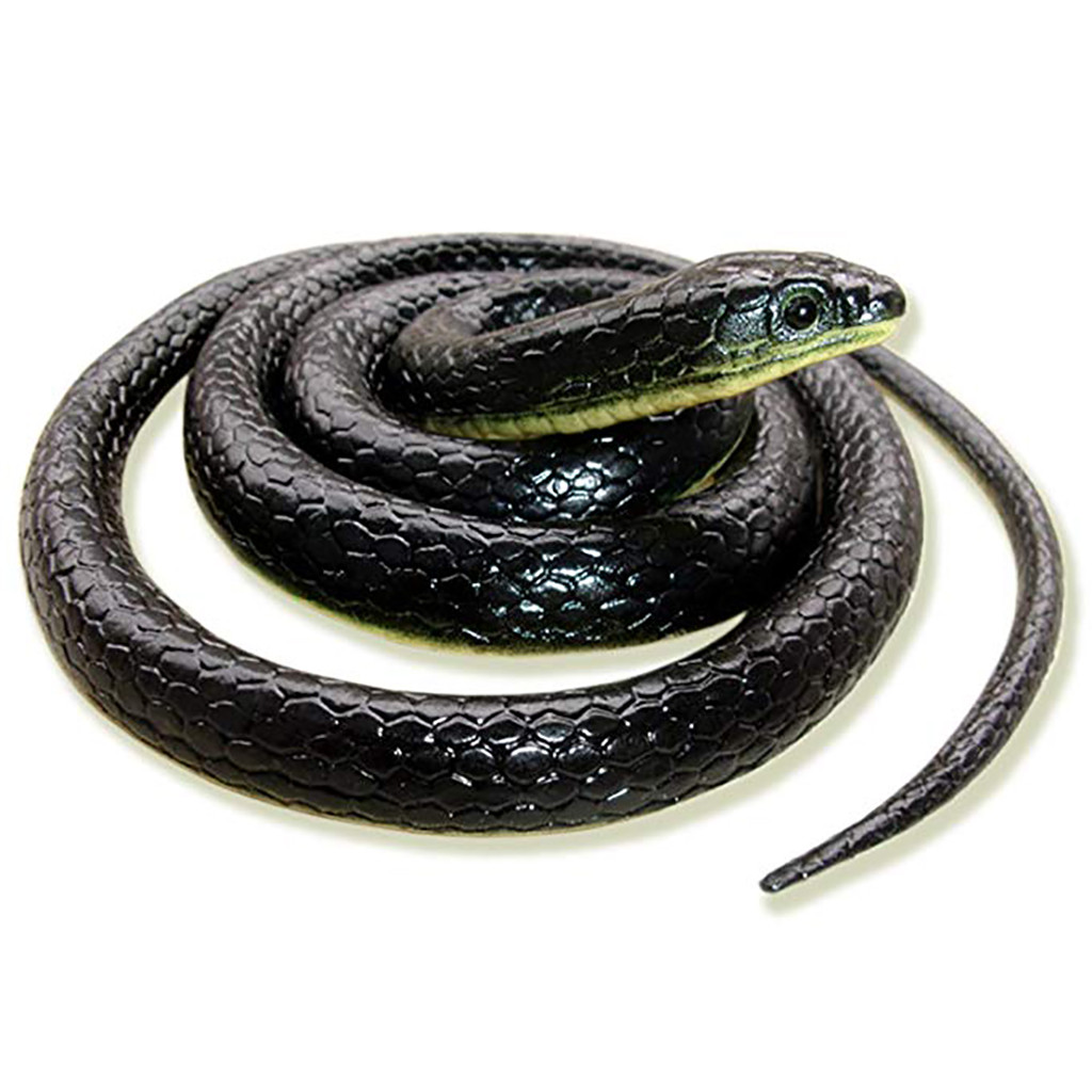 Simulation Snake Whole Person Toy Realistic Fake Rubber Toy Snake Black Fake Snakes 49 Inch Long April Fool's Day L0220