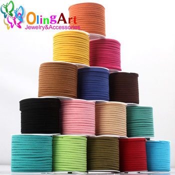 OlingArt 10M/roll Faux Suede flat Leather Cords Rope,Premium Cashmere Suede,Necklace/Bracelet DIY Jewelry making free shipping - discount item  8% OFF Jewelry Making