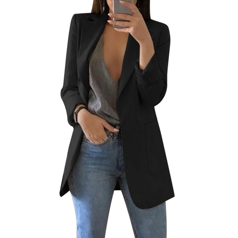 CALOFE 2019 New Open Front Work Office Cardigan Blazer For Women Casual Long Sleeve Jacket Autumn Female Solid Coat With Pocket