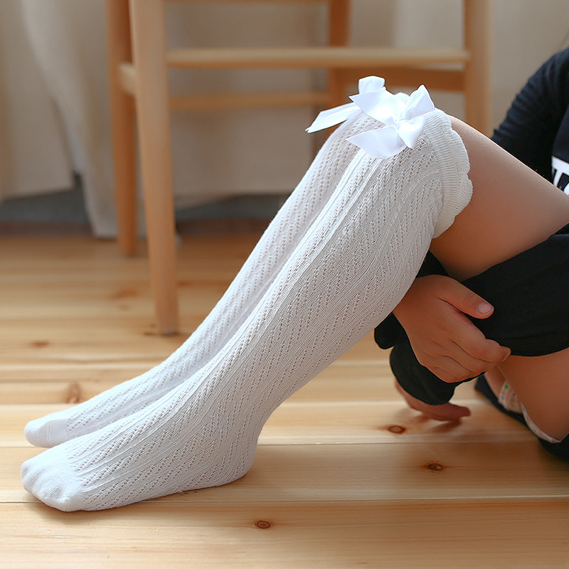 Girl Long Tube Princess Children's Knee High Socks Kids Dance Socks Girl 2-10 Years Old Cotton New Back Bow Long Socks