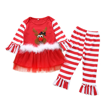 цена на My First Christmas Baby Girl Clothing Set Deer Tutu Dress Ruffle Top Striped Flare Pant Outfits Childer's Clothes for Girl