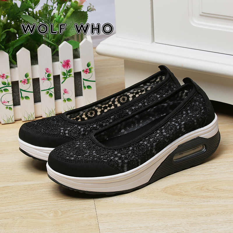2019 Sneakers kadınlar nefes örgü platform ayakkabılar kadın bale daireler üzerinde kayma loafer'lar bayanlar ayakkabı sürüngen Tenis Feminino X-071