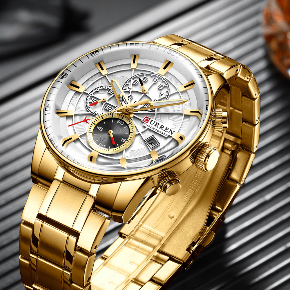 Watch Men Top Luxury Brand CURREN Gold Sport Waterproof Quartz Watches Mens Chronograph Date Male Clock relogios masculino