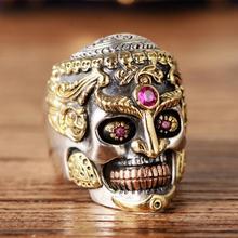 Cool Men Stainless Steel Ring Gothic Punk Skull Crystal Zircon Eye Biker Jewelry gift men s punk skull skeleton bracelet 316l stainless steel link wrist skulls gothic bracelets pulsera calavera jewelry gift