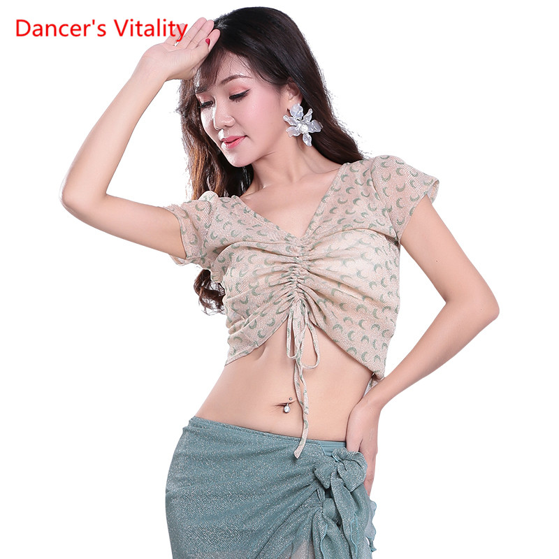 Women's Short Sleeve Ballroom Latin Salsa Swing Dance Blouse High Dance Shirt Belly Dance Sexy V-neck Top