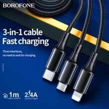 Borofone 3in1 cabo de dados usb para iphone 12 11 pro xs max android micro usb cabo tipo c para samsung xiaomi 11 carregador rápido fio