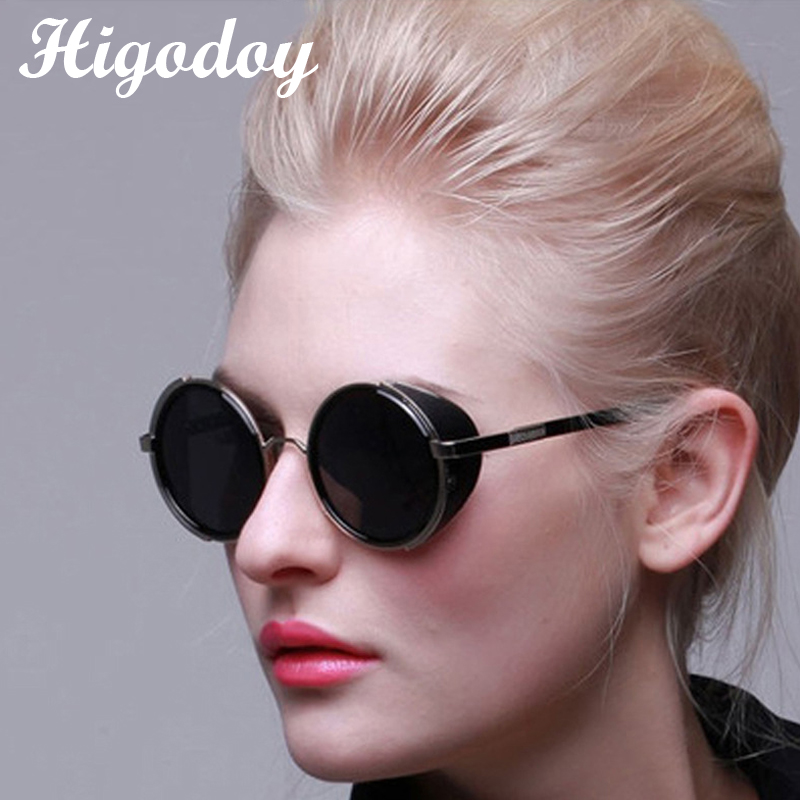 Higodoy Retro Goggle Round Oversized Steampunk Women Sunglasses Vintage Steam Punk Trend Ladies Outdoor Personality Sun Glasses