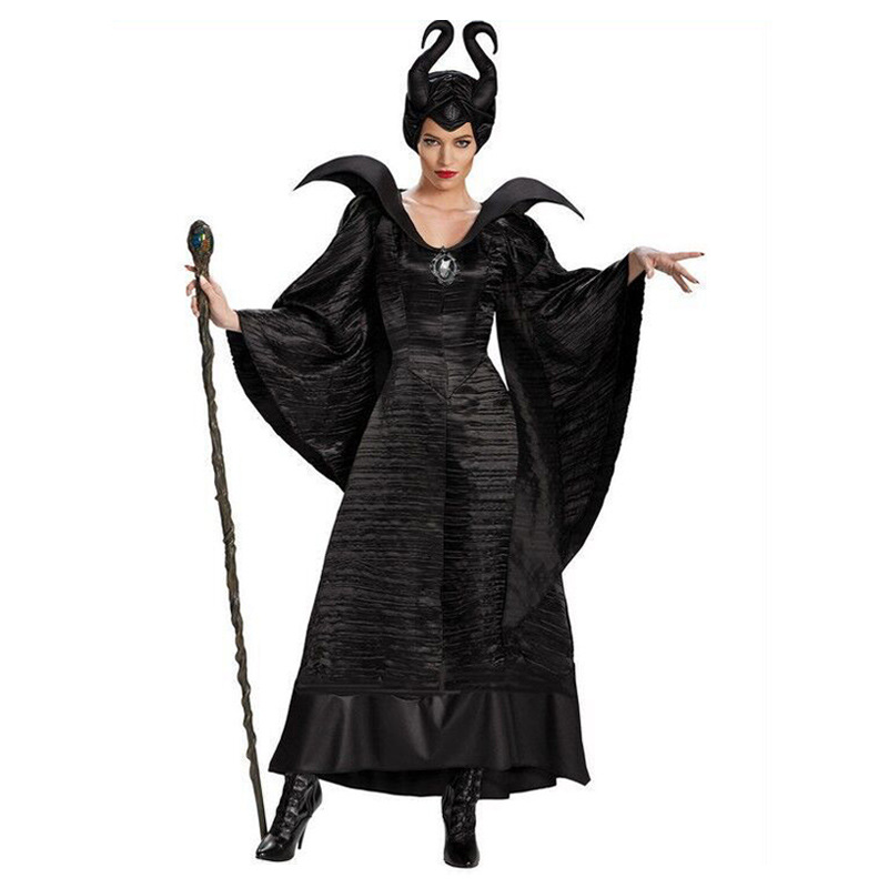 Deluxe S-3XL Halloween Movie Sleeping Beauty Witch Maleficent Costume For Adult Women Evil Witch Dress Horn Hat Outfit