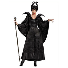 Deluxe S 3XL Halloween Movie Sleeping Beauty Witch Maleficent Costume For Adult Women Evil Witch Dress Horn Hat Outfit