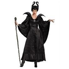 Deluxe S 3XL Halloween film śpiąca królewna czarownica Maleficent kostium dla dorosłych kobiet zła czarownica sukienka róg kapelusz strój