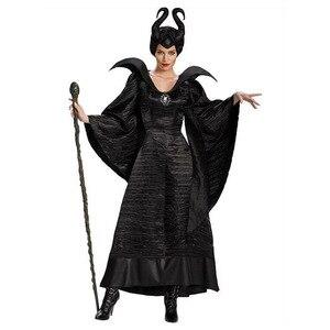 Image 1 - ديلوكس S 3XL هالوين فيلم النوم الجمال الساحرة Maleficent زي للنساء الكبار الشر الساحرة فستان القرن قبعة الزي