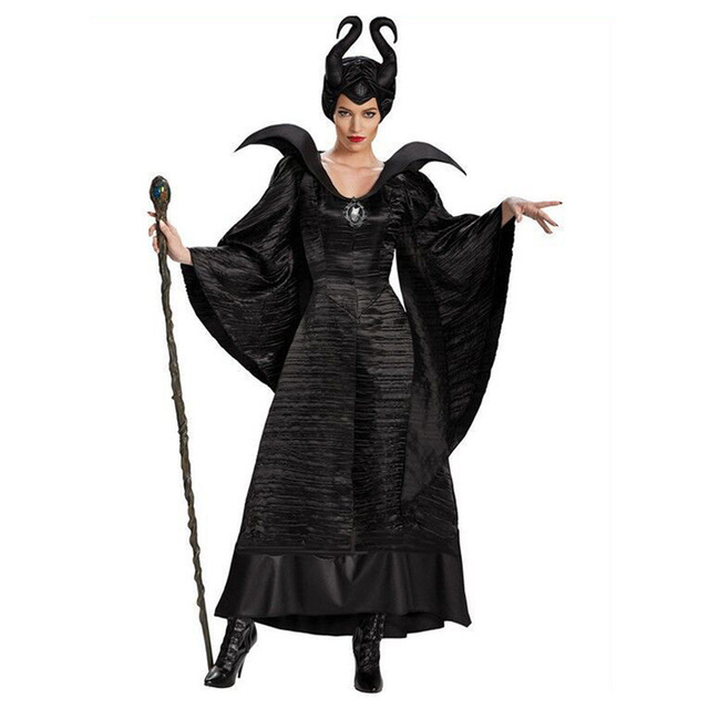ديلوكس S 3XL هالوين فيلم النوم الجمال الساحرة Maleficent زي للنساء الكبار الشر الساحرة فستان القرن قبعة الزي